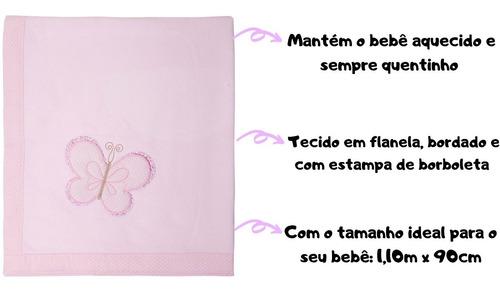 cobertor para bebê bordado e macio 1,10mx90cm papi envio 24h
