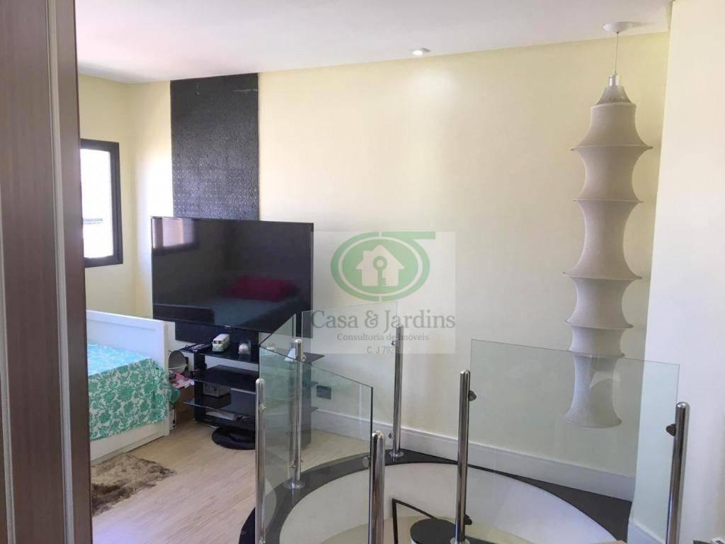 cobertura 1 dormitorio (suite) + sala e tv e solariun c/piscina - pompeia, px. a praia - santos - co0202