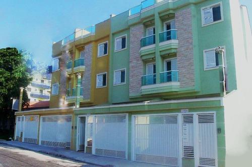 cobertura 100m² (50+50m²) sem condomínio, 2 dormitórios, suíte, 2 vagas, parque das nações, santo andré - co0020
