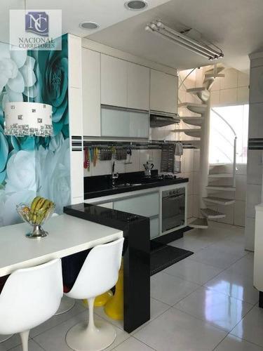 cobertura com 2 dormitórios à venda, 100 m² por r$ 350.000 - vila metalúrgica - santo andré/sp - co2721
