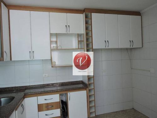 cobertura com 3 dormitórios para alugar, 190 m² por r$ 1.700/mês - campestre - santo andré/sp - co0442