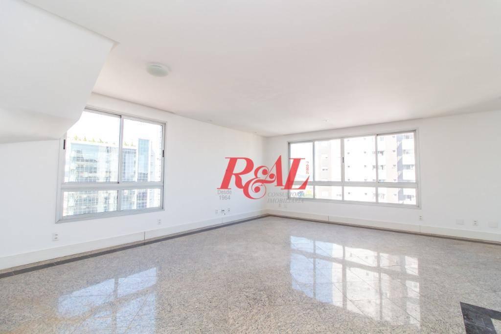 cobertura com 3 dormitórios para alugar, 480 m² por r$ 6.000/mês - embaré - santos/sp - co0251