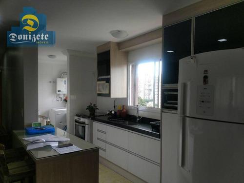 cobertura com 3 dormitórios à venda, 160 m² por r$ 820.000 - campestre - santo andré/sp - co1436
