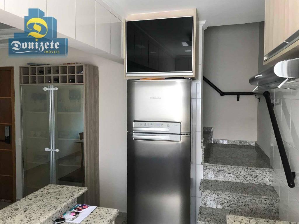 cobertura com 3 dormitórios à venda, 180 m² por r$ 555.000,00 - vila assunção - santo andré/sp - co1373