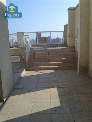 cobertura com 3 dormitórios à venda, 233 m² por r$ 1.400.000 - vila bastos - santo andré/sp - co0602