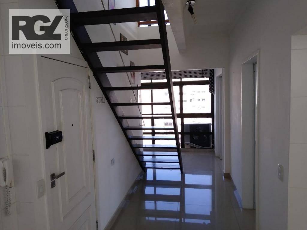 cobertura com 3 dormitórios à venda, 350 m² por r$ 1.750.000 - aparecida - santos/sp - co0076