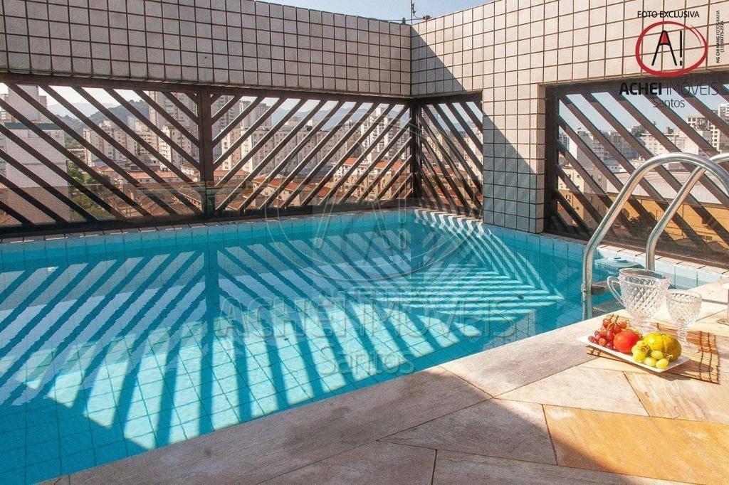 cobertura com 4 dormitórios à venda, 180 m² por r$ 750.000 - campo grande - santos/sp - co0074