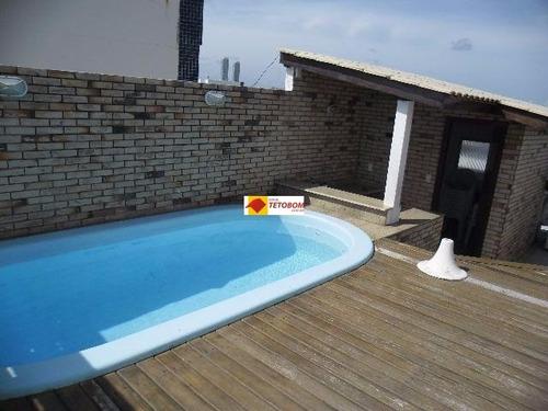 cobertura com piscina aquecida e estrutura completa.5/4 - 2 suites - 2 vagas próximo a faculdade rui barbosa vista mar - tjn112 - 3218282
