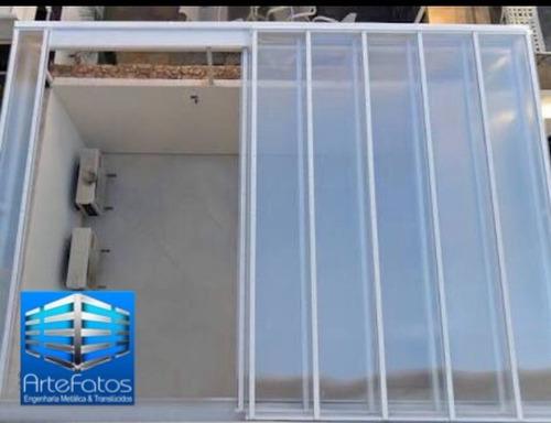 cobertura de vidro e policarbonato