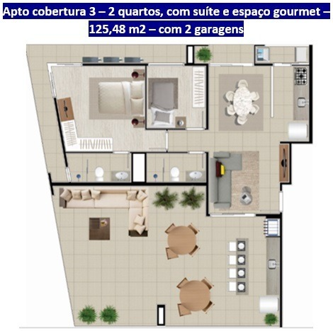 cobertura no saguaçu | 01 suíte + 01 | 02 vagas | 125 m2 privativos - sa00442 - 33303751