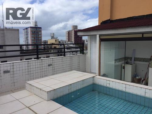 cobertura residencial à venda, praia do tombo, guarujá. - co0150
