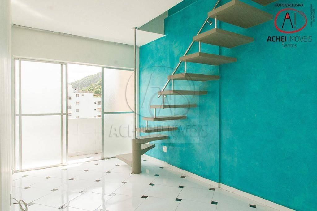 cobertura à venda, 100 m² por r$ 320.000,00 - josé menino - santos/sp - co0024