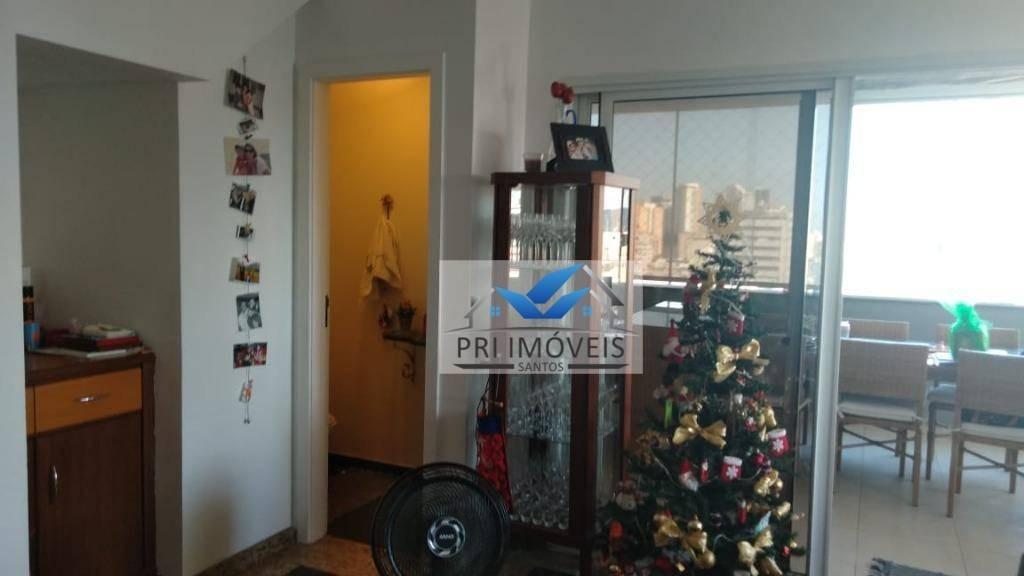 cobertura à venda, 138 m² por r$ 723.000,00 - aparecida - santos/sp - co0016