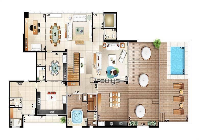 cobertura à venda, 586 m² por r$ 3.800.000,00 - vila do golf - ribeirão preto/sp - co0021