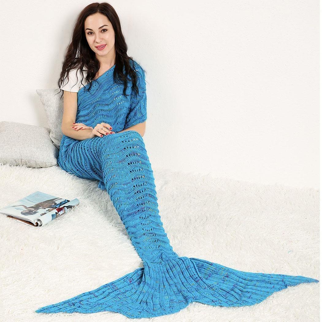 Cobija Cola De Sirena Tejidas Crochet Manta Para Adultos - $ 538.22 ...