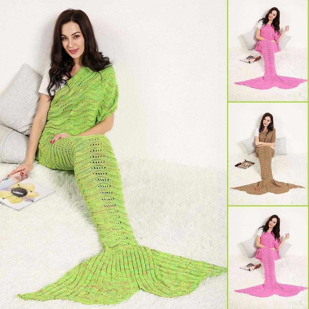 Cobija Cola De Sirena Tejidas Crochet Manta Para Adultos - $ 514.55 ...