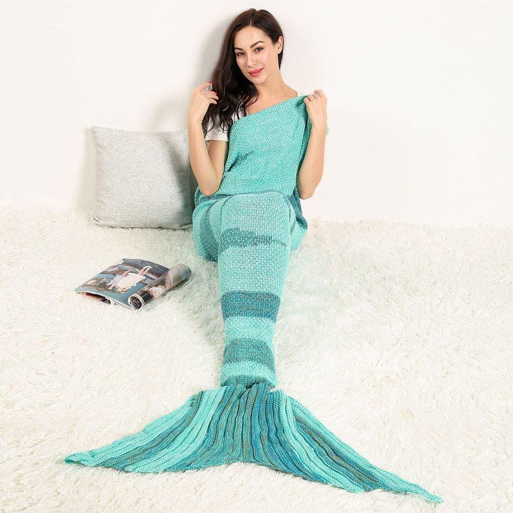 Cobija Cola De Sirena Tejidas Crochet Manta Para Adultos - $ 524.84 ...