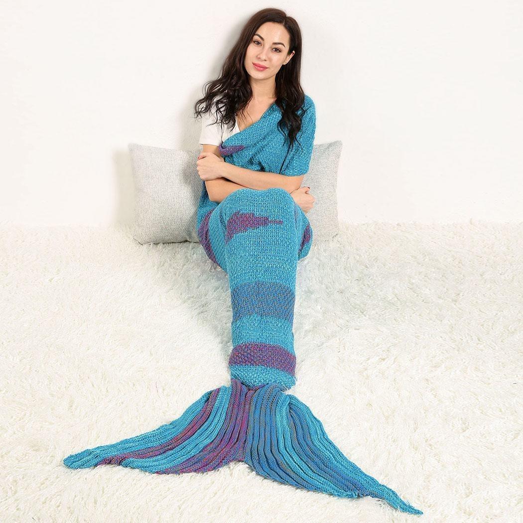 Cobija Cola De Sirena Tejidas Crochet Manta Para Adultos - $ 531.28 ...