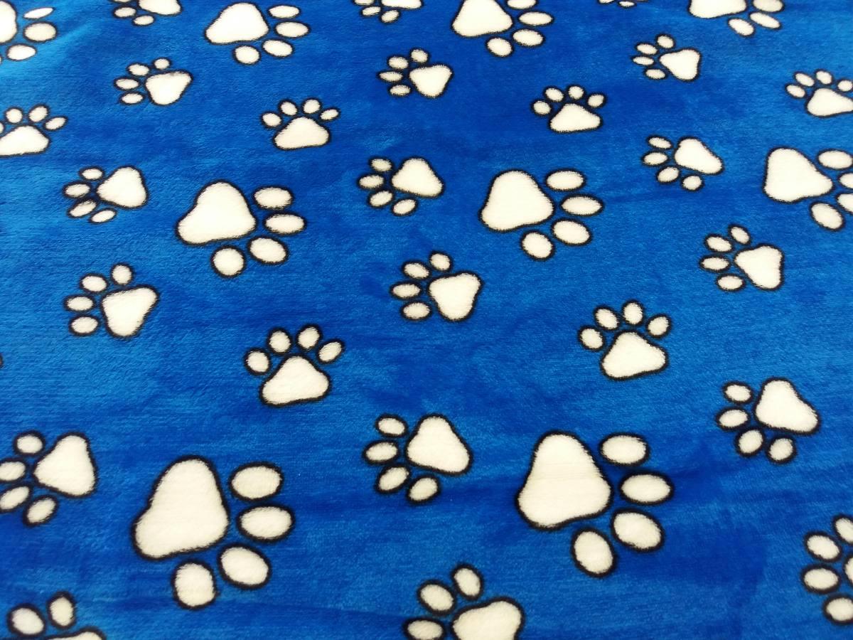 Fondo Perro Huellas: Cobijas Manta Frazada Para Mascotas Azul Huellas Perritos