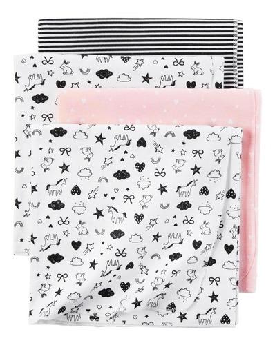 cobijas mantas x4 para bebe 100 % algodo, color rosa y negro