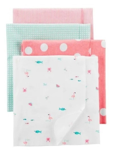 cobijas mantas x4 para bebe 100 % algodon, flamencos rosa