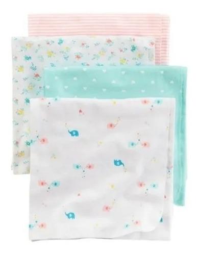 cobijas mantas x4 para bebe 100 % algodon, flores