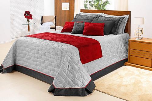 cobre leito casal king cinza com vermelho e + cores pág: 07