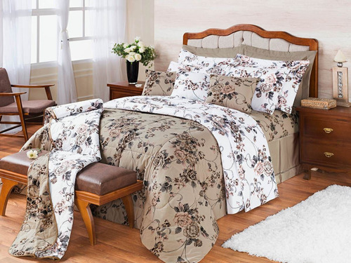 cobre leito casal queen florido jg lençol 9p algodão pág: 25