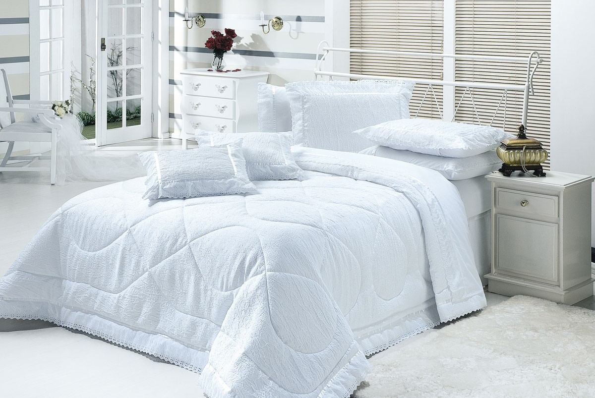 Cobre leito colcha cama casal box cor branco 7p for Colchas para camas de 150 con canape