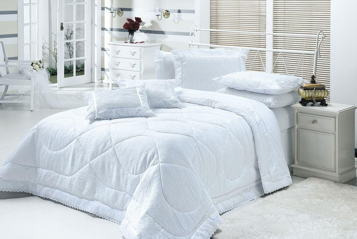 Cobre leito colcha cama casal queen box cor branco 7p for Colchas para camas de 150 con canape