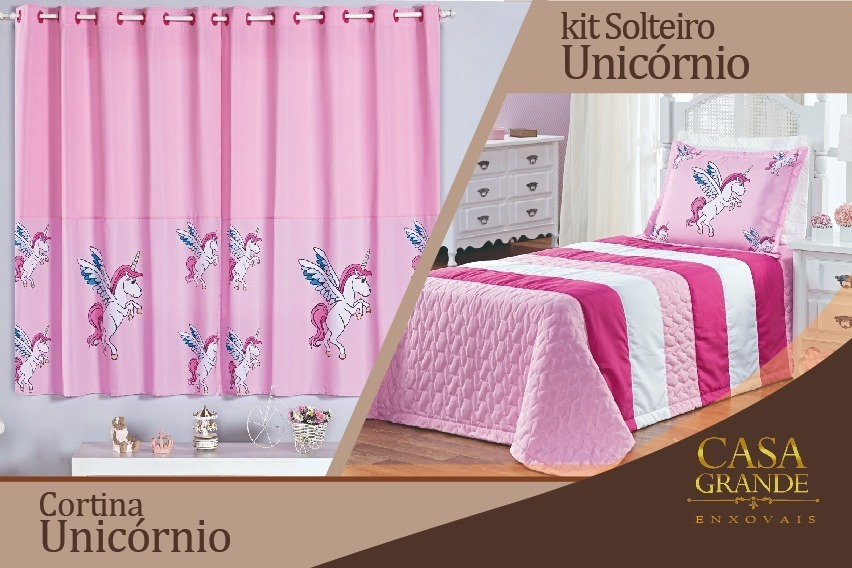 56648bad68 cobre leito colcha solteiro e cortina unicornio rosa. Carregando zoom.