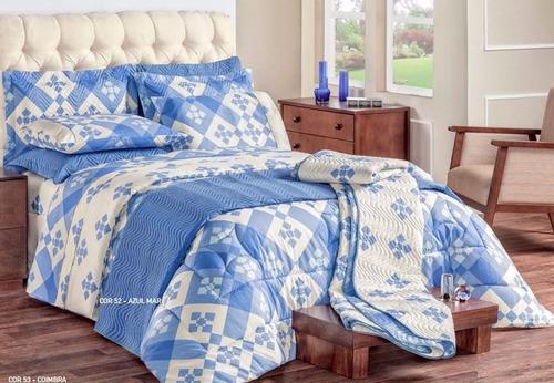 cobre leito diplomata azul super king kit 3 peças 150 fios