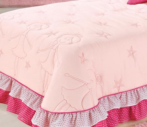 b272d90314 cobre leito feminino kit bailarina solteiro 4 peças rosa. Carregando zoom.