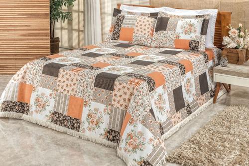 cobre leito la bella colcha casal queen patchwork laranja