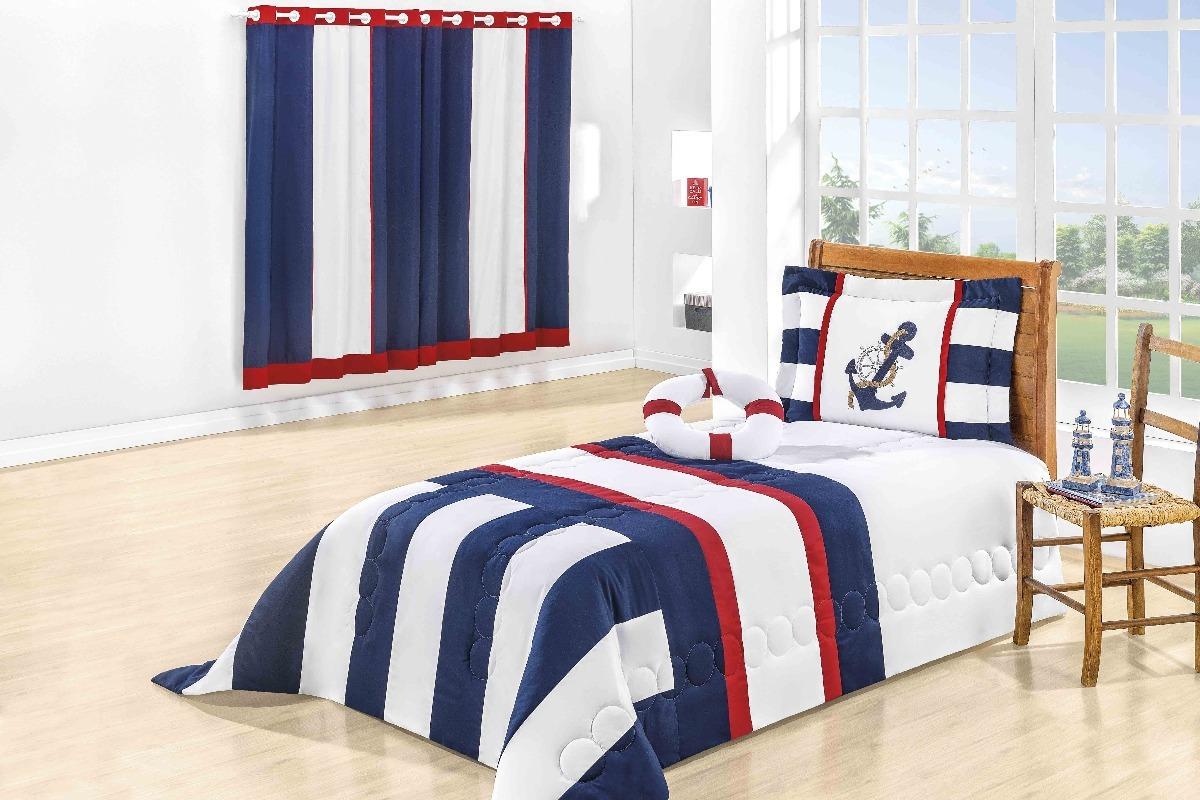 d16b4f938e cobre leito para cama solteiro menino mais cortina 4pç marin. Carregando  zoom.