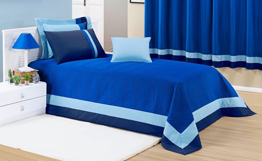 Cobre Leito Stylo Azul Decoração Quarto Menino 6p Colcha