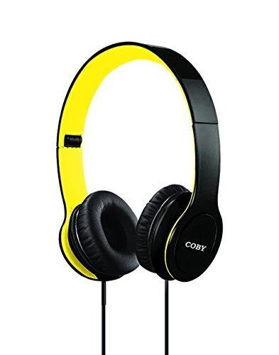 coby cvh-801-ylw auriculares estéreo plegables, amarillo