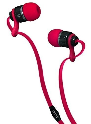 coby cvpe-03-red deluxe enchufe auriculares estéreo de meta
