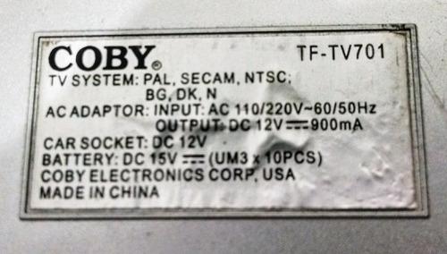 coby tv tf-tv701 7 polegadas para retirar peças