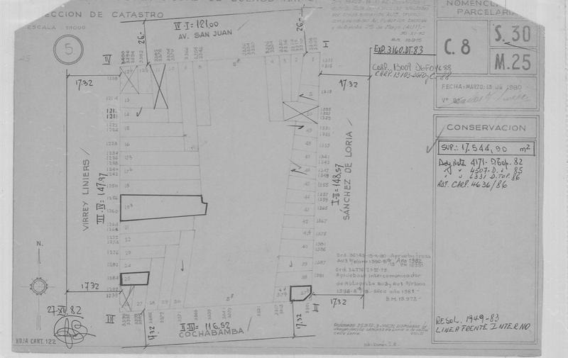 cochambamba y sanchez de loria 10 x 8 planos aprobados y derechos pagos apto 480 m2