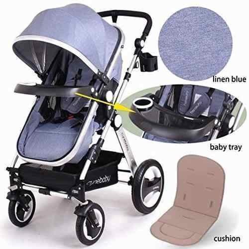 coche bebe recién nacido luxury café/azul claro cynebaby