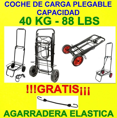 coche carro carga plegable 40 y 80 kg cajas gas agua maletas