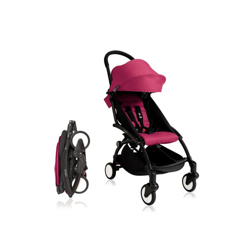 coche de paseo babyzen yoyo+ 0+ color rosa chasis negro