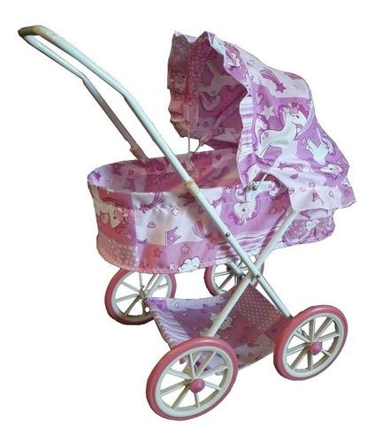 coche de paseo para muñecas tipo cuna moises plegable metal