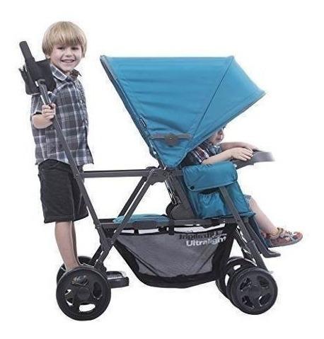 coche doble  asiento bebe, joovy caboose ultralight azul