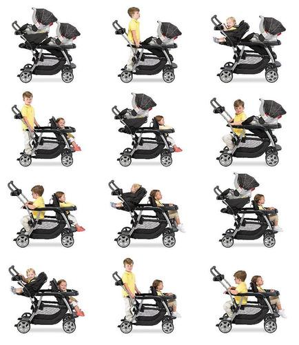 coche graco gemelos ready2grow click connect+envio gratis