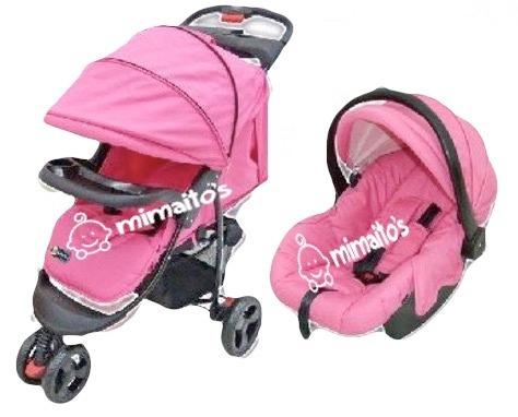coche para bebé + silla para carro+portabebé y mecedor 4en1