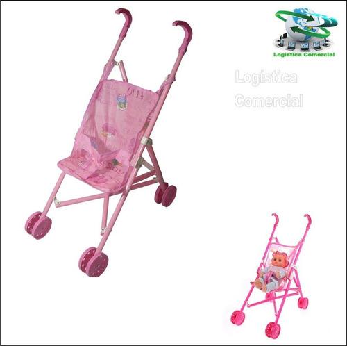 coche para muñeca niña juguete rosado plastico