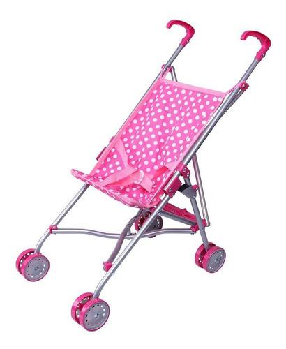 coche para muñecas color rosa y puntos blancos con mangos