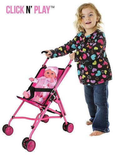 coche para muñecas mango color negro y marco color rosa